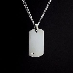 "Men's Diamond Dog Tag Pendant Necklace 22"""